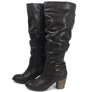 Diba Stacked Heel Tall Boots Brown Slouchy Size 9